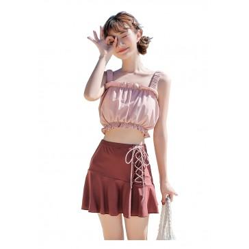 水着 レディース 女性 可愛い 学生水着 ピンク スプリット水着 安全パンツ付き チェストパッド付き 薄い 速乾性 柔らかい