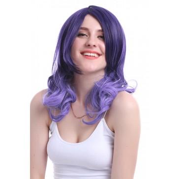 45cm ミディアム パープル紫色 ウェーブ 原宿 ウィッグ かつら 安い 通販