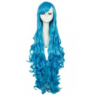 100CM ロングウイッグ かつら 人気ウィッグ ウエーブヘア ブルー 安い 通販