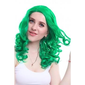 55cm グリーン 緑 ウェーブ カール コスプレウィッグ かつら