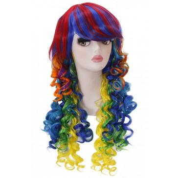 65㎝ ロング カリー レインボー ミックス コスプレウィッグ 通販 前髪 ウィッグ 安い 自然 かつら