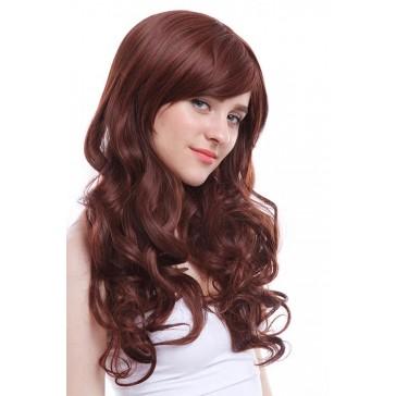 【耐熱ウィッグ】60cm ロング/赤茶色 スイート可愛いファッションウィッグ FL05A