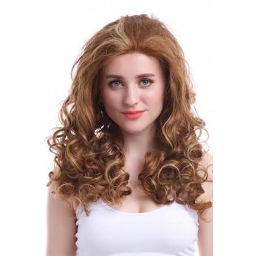 55cm  ロング  ミックスカラー  レディース  ウエーブレース前髪 ファッションウィッグ 安い 通販