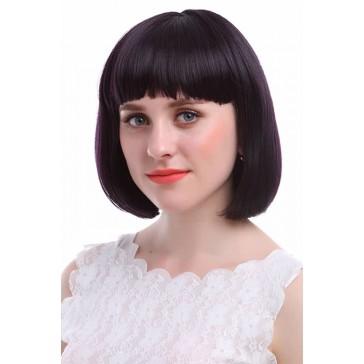 30cm  ショート ボブ ブラックとパープル 黒紫 美少女戦士 セーラームーン 土萠ほたる風 コスプレウィッグ かつら 安い 通販