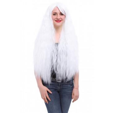 80cm ロング  ウェーブ カール ホワイト 白 コスプレウィッグ かつら