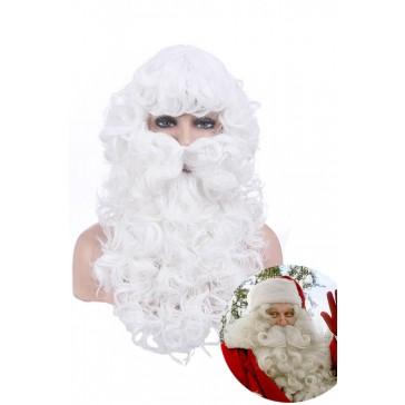 クリスマス 仮装 サンタクロース コスプレ 白い ウィッグ ひげ 激安 通販JF-0013-10M