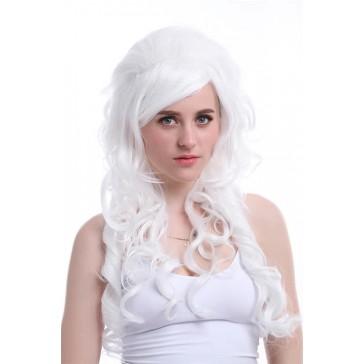 70cm ロング ホワイト 白 カール 女王風 ロリータ コスプレウィッグ かつら 安い 通販