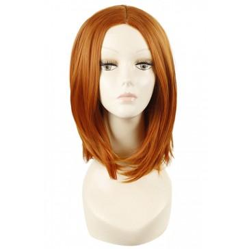 40cm  ミディアム  オレンジ  ストレート  耐熱  ファッションウィッグ  安い 通販