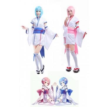 Re:ゼロから始める異世界生活 レム ラム 青い&ピンク コスチューム コスプレ衣装 CC3602