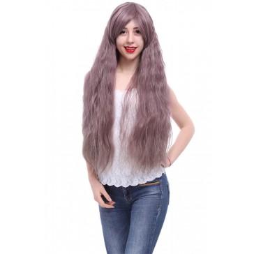 85cm ロング カール ウエーブヘア紫芋色 コスプレウィッグ かつら
