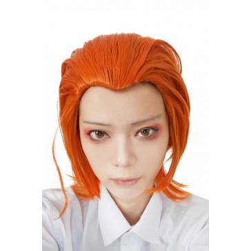 35cm ショット  オレンジ アニメ コスプレウィッグ かつら