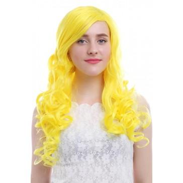 65cm ロング イェロー 黄色 ウェーブ カール コスプレウィッグ かつら
