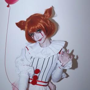 『IT』 HORROR美少女 ペニーワイズ 性転換 コスプレウィッグ  赤い  ウィッグ  安い  通販